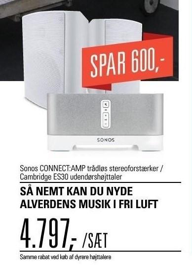Sonos CONNECT:AMP trådløs stereoforstærker / Cambridge ES30 udendørsforstærker