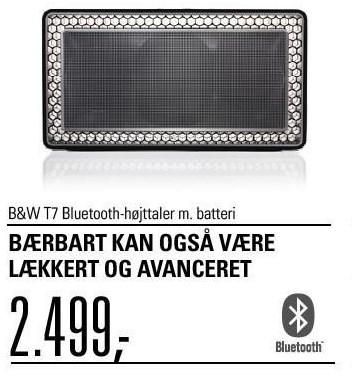 B&W T7 bluetooth-højttaler m. batteri