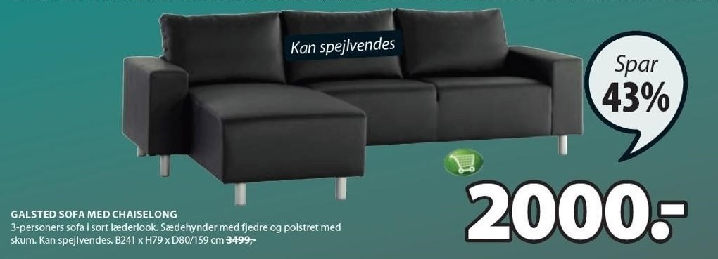 Galsted sofa med chaiselong