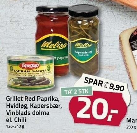 Grillet Rød Paprika, Hvidløg, Kapersbær, Vinblads dolma el. Chili 2 stk.
