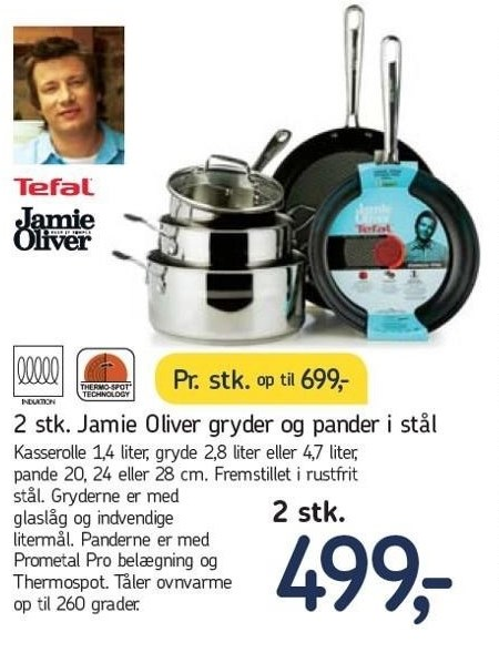 2 stk. Jamie Oliver gryder og pander i stål