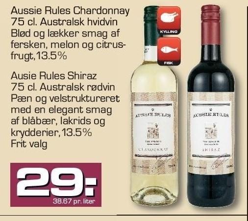 Aussie Rules Chardonnay eller Shiraz