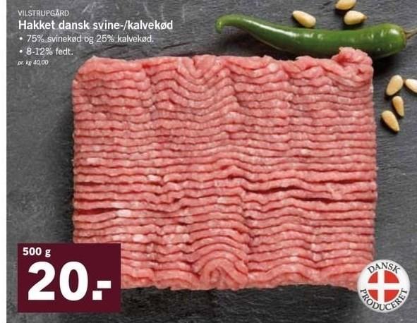Hakket Dansk Svine-/Kalvekød