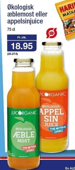 Økologisk æblemost eller appelsinjuice