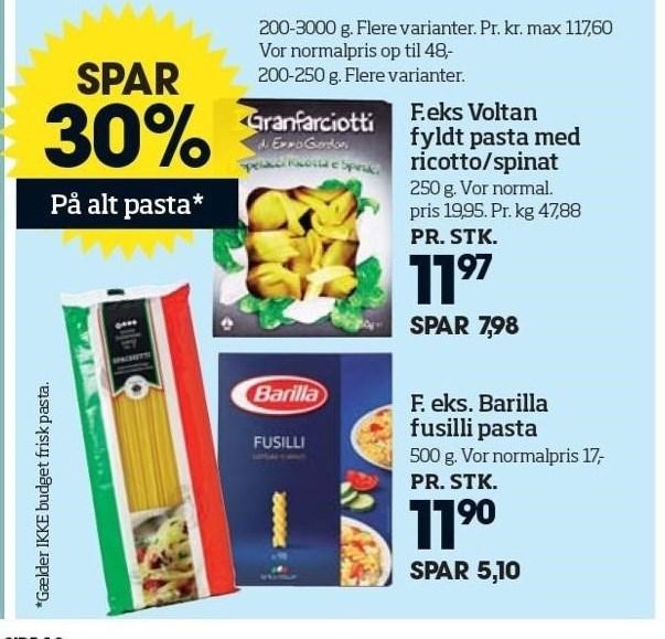 Barilla fusilli pasta eller Voltan fyldt pasta med ricotta/spinat