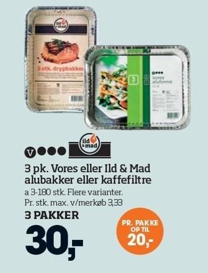 3 pk. vores eller Ild & Mad alubakker eller kaffefiltre