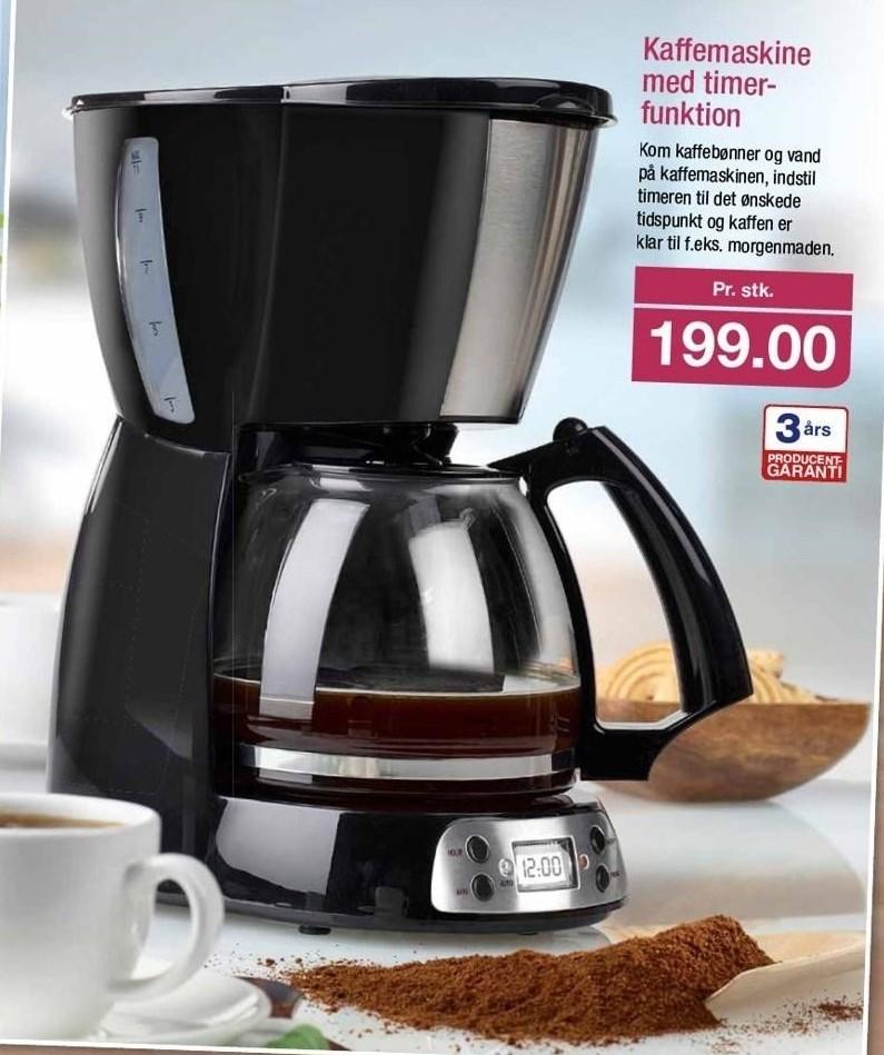 Kaffemaskine med timerfunktion
