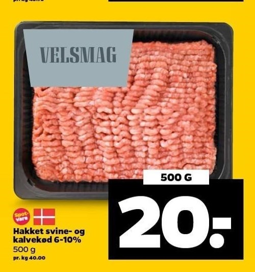 Hakket svine- og kalvekød 6-10%