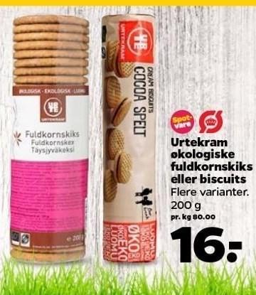Urtekram økologiske fuldkornskiks eller biscuits