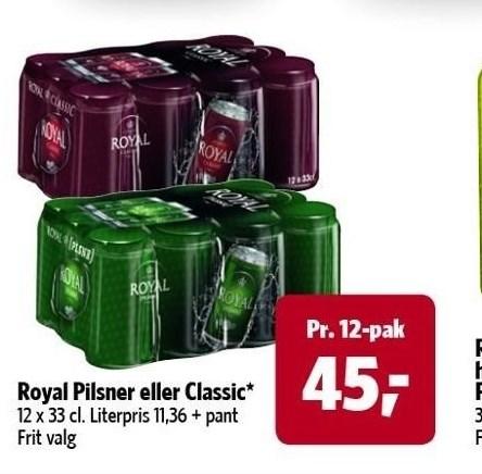 Royal Pilsner eller Classic 12-pak