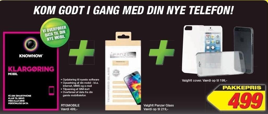 Klargøring mobil + valgfrit Panzer Glass + valgfrit cover