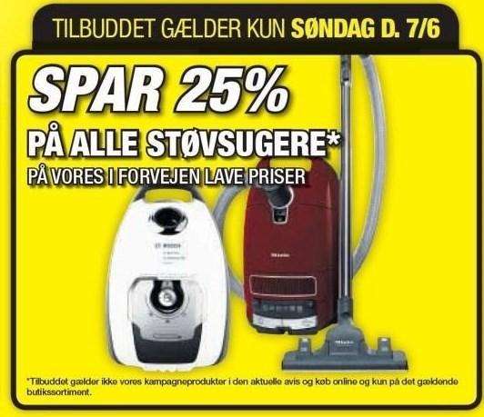 Spar 25% på alle støvsugere