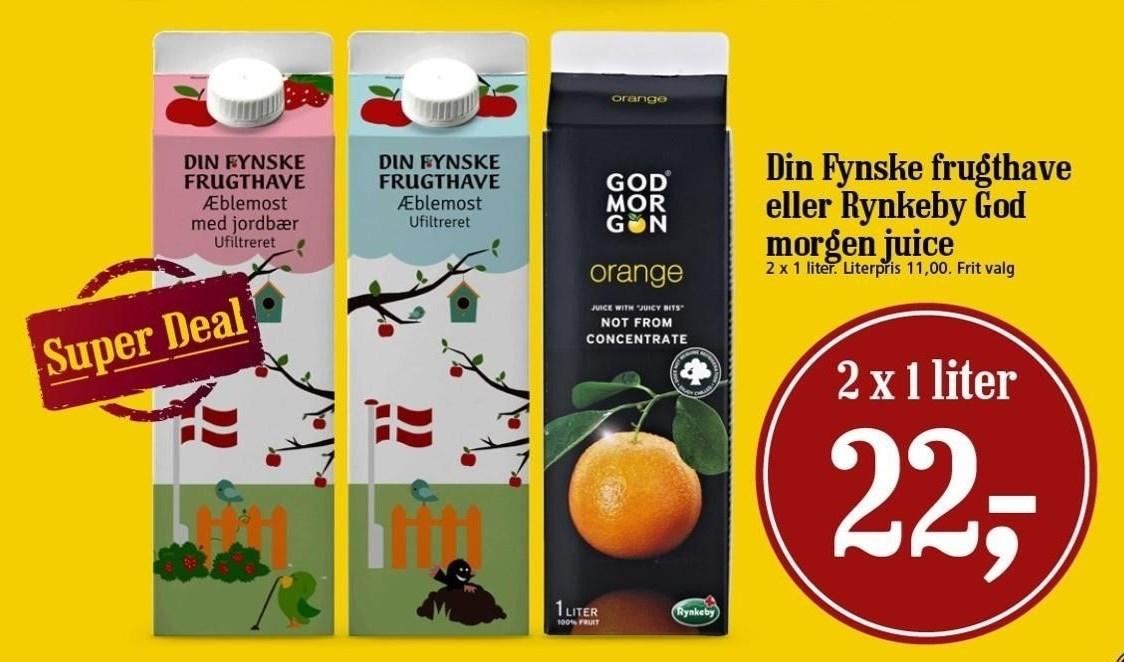 2 stk. Din Fynske Frugthave eller Rynkeby God Morgen Juice