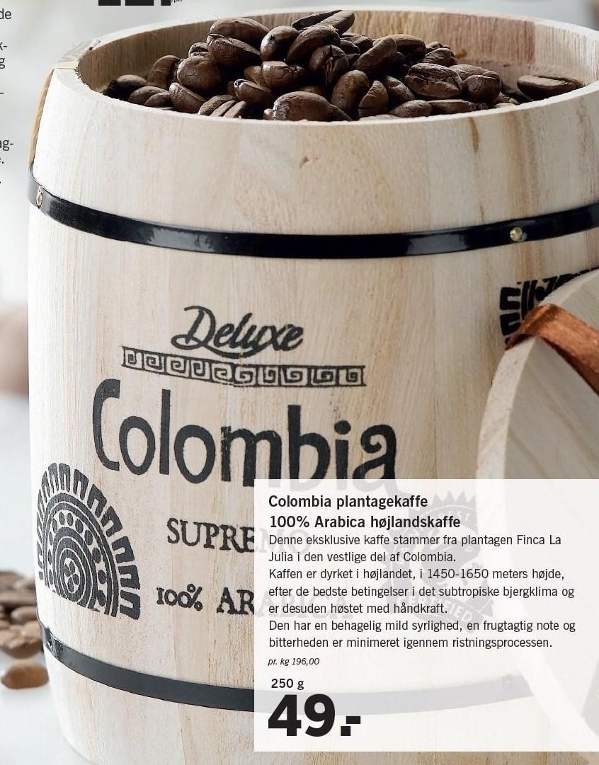 Colombia plantagekaffe 100% Arabica højlandskaffe