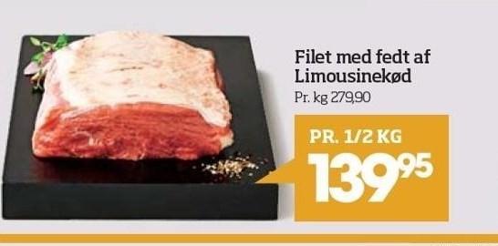 Filet med fedt af limousinekød - pr. ½ kg