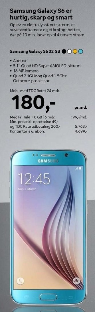 Samsung Galaxy S6 32 GB med TDC Rate i 24 mdr.