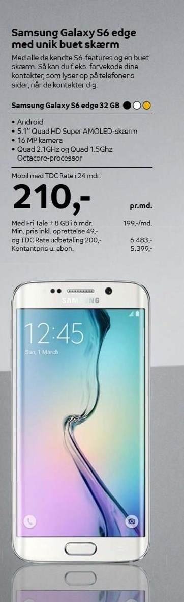 Samsung Galaxy S6 edge med TDC Rate i 24 mdr.