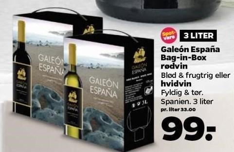 Galeón España Bag-in-Box rødvin eller hvidvin