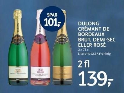 Dulong Crémant de Bordeaux brut, demi-sec eller rosé 2 fl.