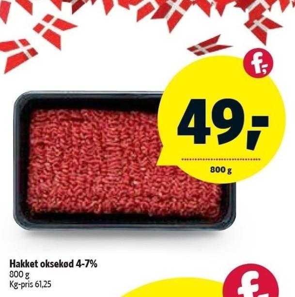 Hakket oksekød 4-7%