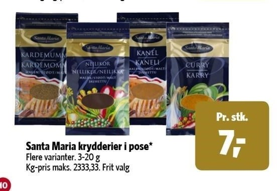 Santa Maria krydderier i pose
