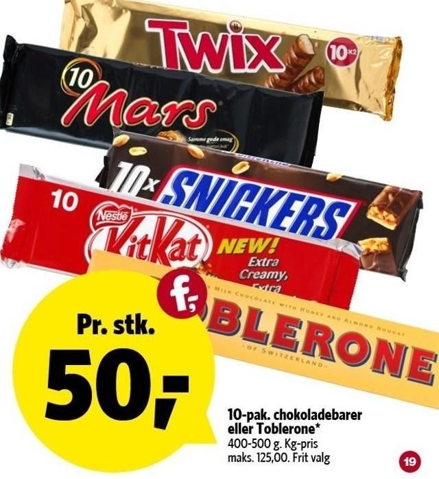 10-pak. chokoladebarer eller Toblerone