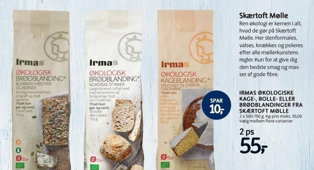 Irmas økologiske kage-, bolle- eller brødblandinger fra Skærtoft Mølle 2 poser