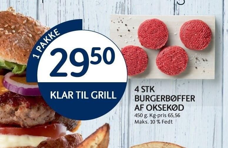 4 stk burgerbøffer af oksekød