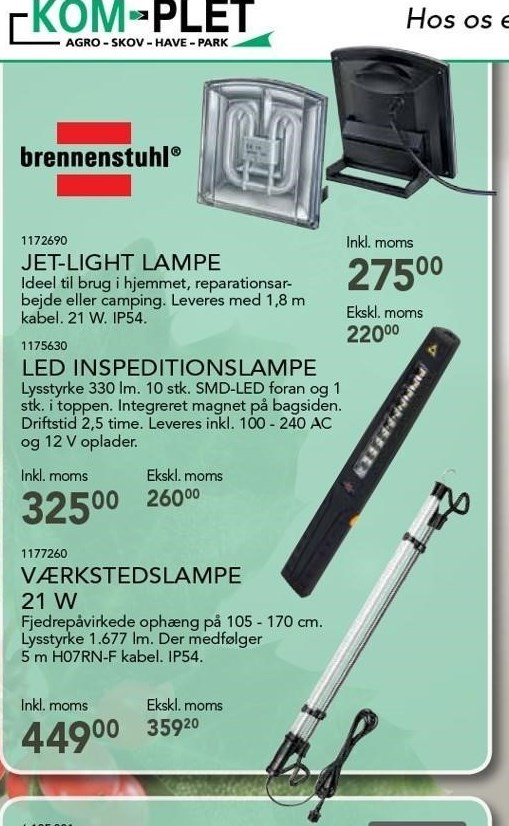 Jet-Light lampe, LED inspeditionslampe el. værkstedslampe