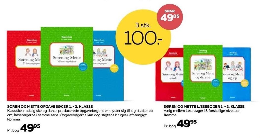 Søren og Mette opgavebøger eller læsebøger 1.-2. klasse 3 stk