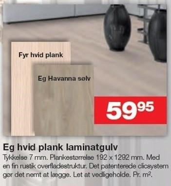 Eg hvid plank laminatgulv pr. m2