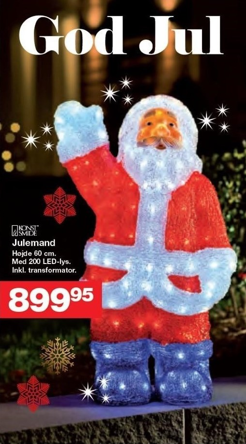 Julemand m. 200 LED-lys
