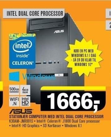 Asus stationær computer med intel dual core processor