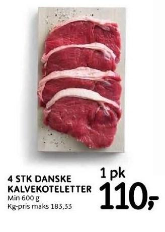 4 stk. danske kalvekoteletter