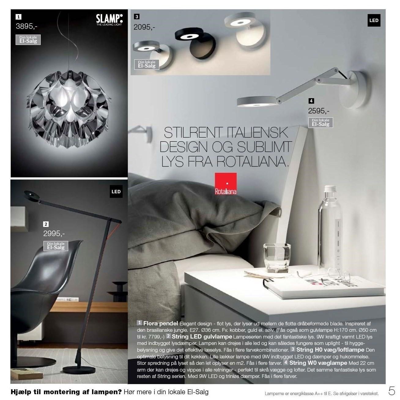 Væg/loftlampe, væglampe, gulvlampe eller pendel