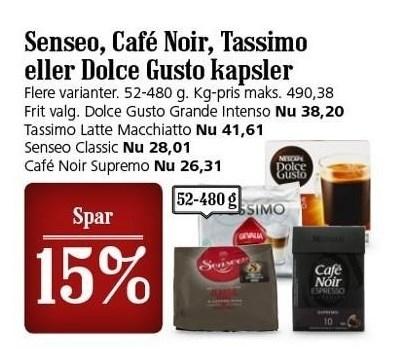 Senseo, Café Noir, Tassimo eller Dolce Gusto kapsler