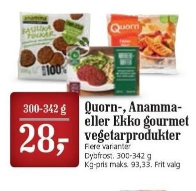 Quorn-, Anamma- eller Ekko Gourmet vegetarprodukter