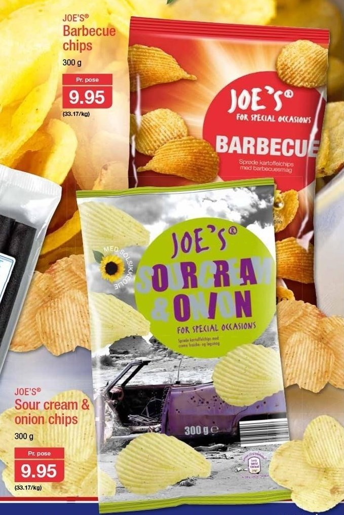 Barbecue eller sour cream & onion chips