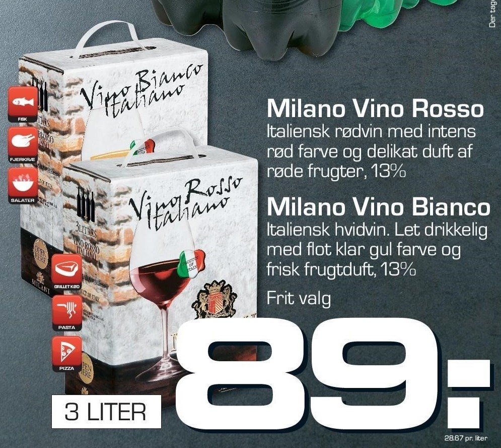 Milano Vino Rosso eller Bianco 3 liter