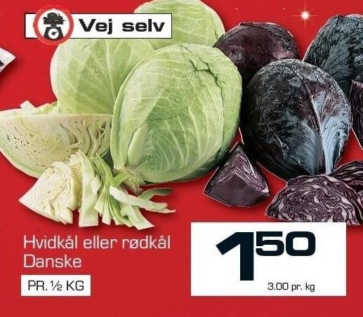 Hvidkål eller rødkål pr. ½ kg.
