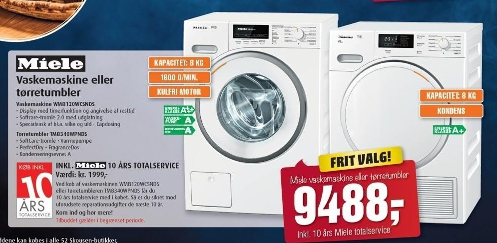 Miele vaskemaskine eller tørretumbler