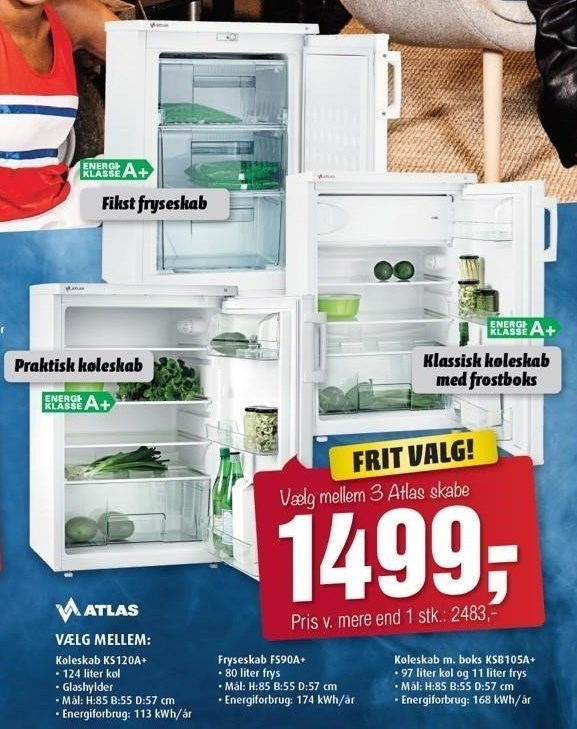 Atlas køleskab, fryseskab eller køleskab m. boks