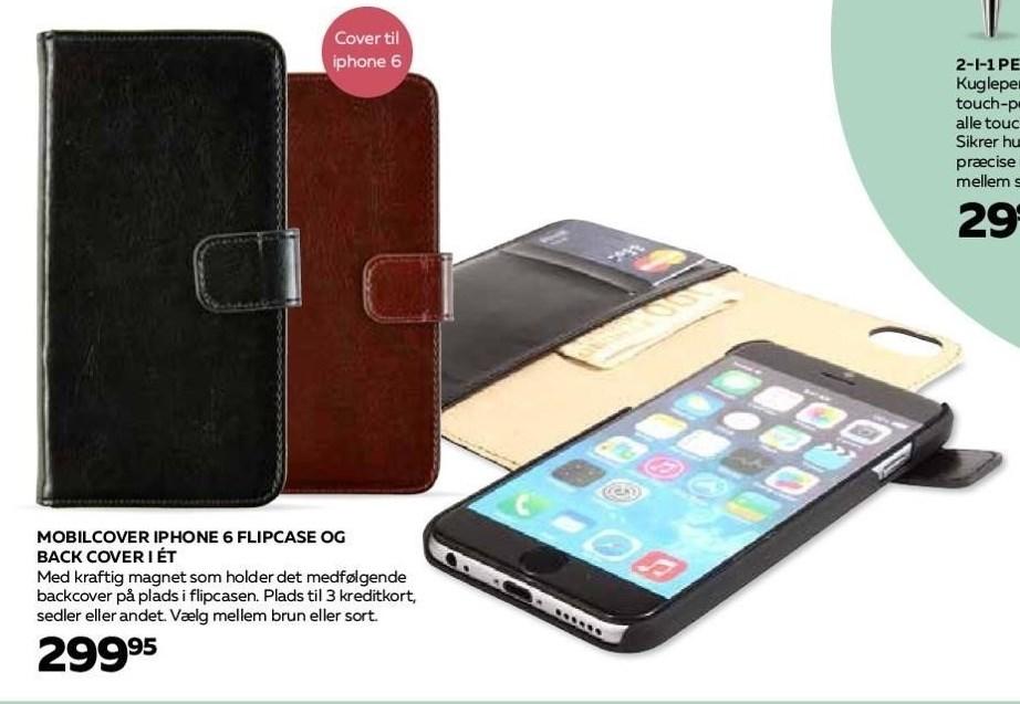 Mobilcover iPhone 6 flipcase og Back cover i ét