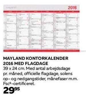 Mayland kontorkalender 2016 m. flagdage