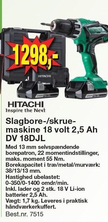 Slagbore-/skruemaskine 18 volt 2,5 Ah