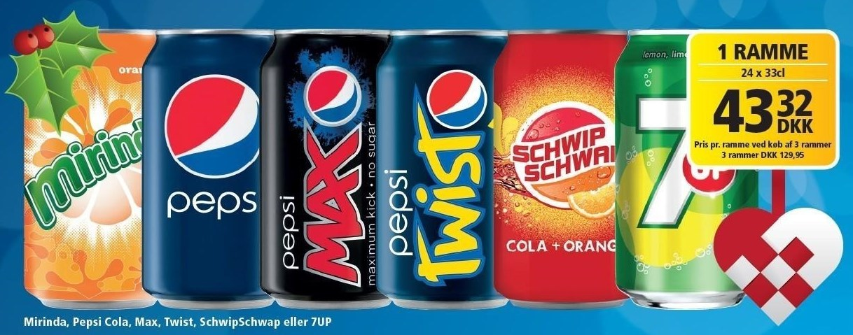 Mirinda, Pepsi, Max, Twist, SchwipSchwap eller 7UP 24 ds.