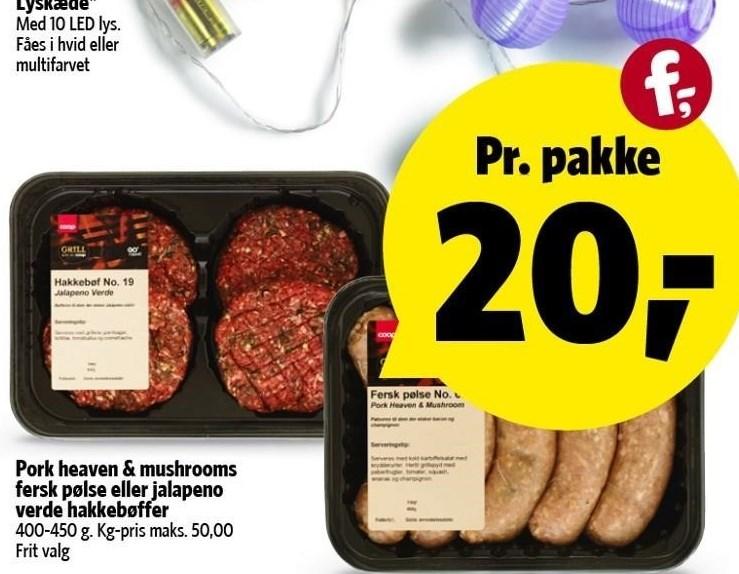 Pork heaven & mushrooms fersk pølse eller jalapeno verde hakkebøffer
