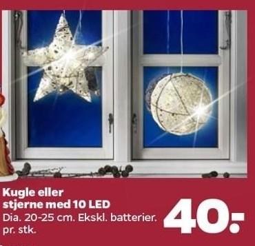 Kugle eller stjerne med 10 LED