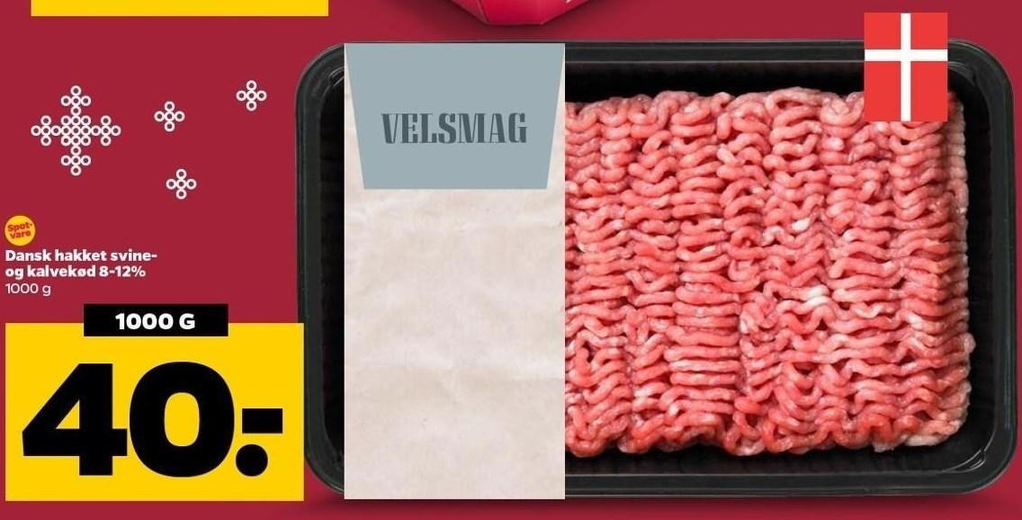 Dansk hakket svine- og kalvekød 8-12%