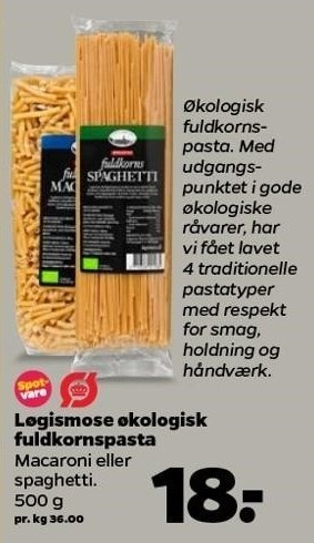 Løgismose økologisk fuldkornspasta